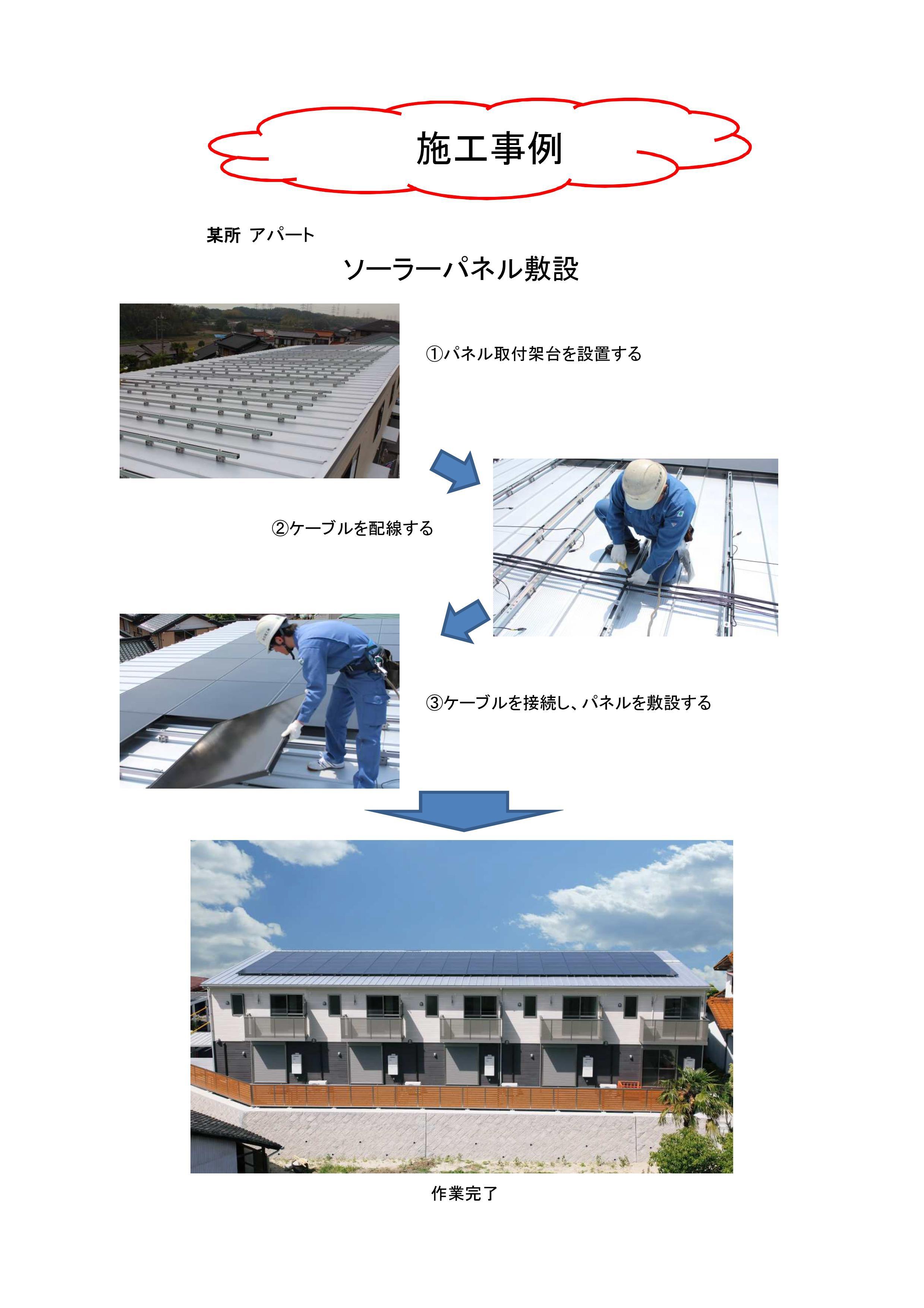 工事実績 2013.5 某所アパート 太陽光発電設備工事